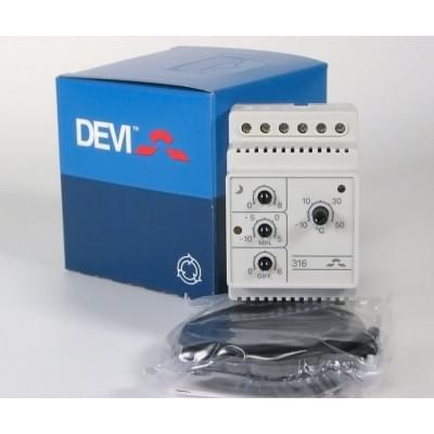 Купить Терморегулятор для греющего кабеля Devireg Д-316, -10°C-+50°C ,с датч. на проводе  Терморегуляторы Devi для греющего кабеля polvteplo.ru
